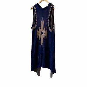 Navy Loose Knit Boho Sleeveless Open Cardigan S